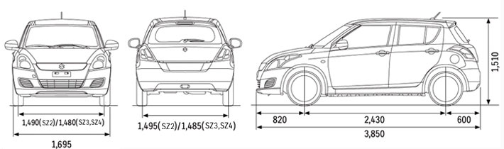 Suzuki swift dimensions